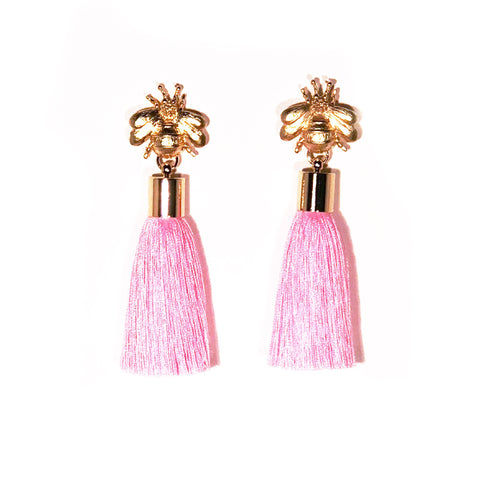 SugarBuzzQueen Bee Tassel Earrings - Light Pink