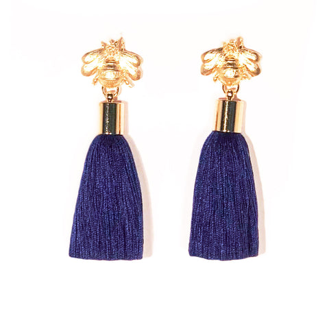 SugarBuzz Queen Bee Tassel Earrings - Navy Blue