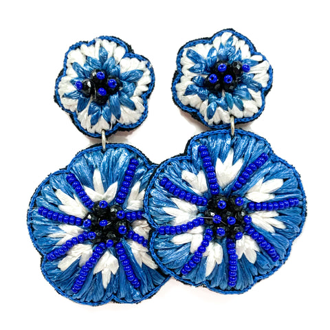 Blue Raffia Flower Earrings