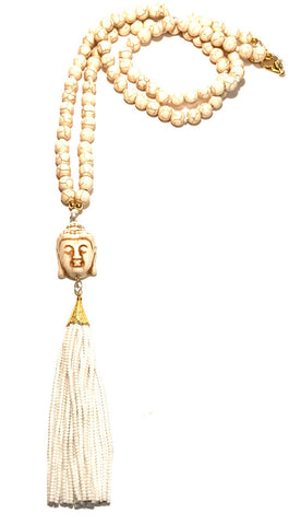 BUDDHA Tassel Necklace in White