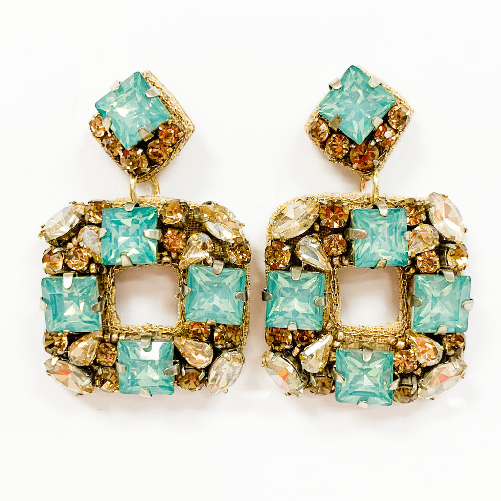 Aqua Sparkly Square Earrings