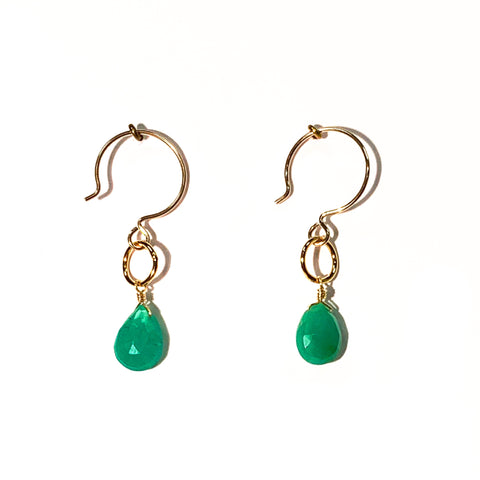 Chrysoprase Single Stone Drop Earrings