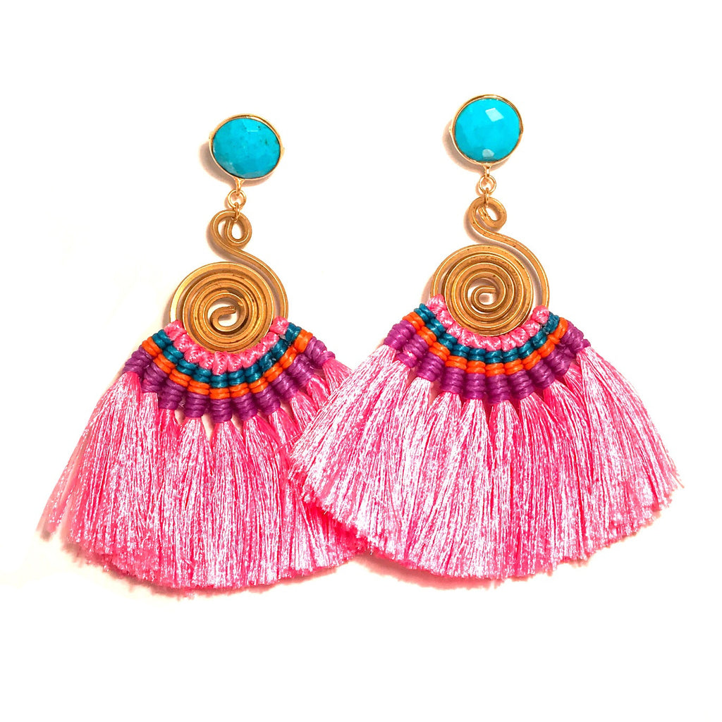 HE 620 Genevieve Tassel Earrings - Pink with Turquoise