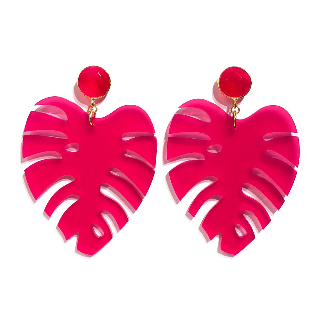 The Leaf - Gemstone in Hot Pink!
