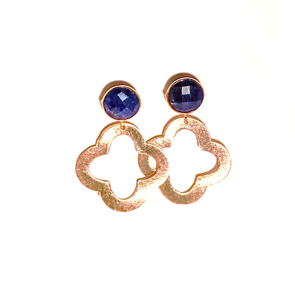 HE 680 Ellis Quatrefoil Earrings in Lapis
