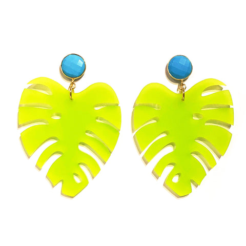 The Leaf - Gemstone in Turquoise & Frosty Lime