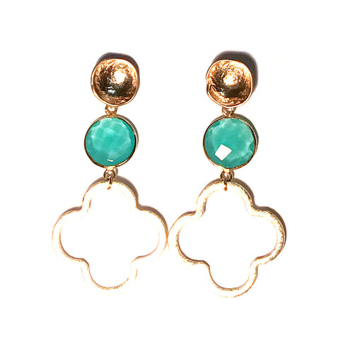 Megan Gemstone Quatrefoil Earrings - Aqua Chalcedony