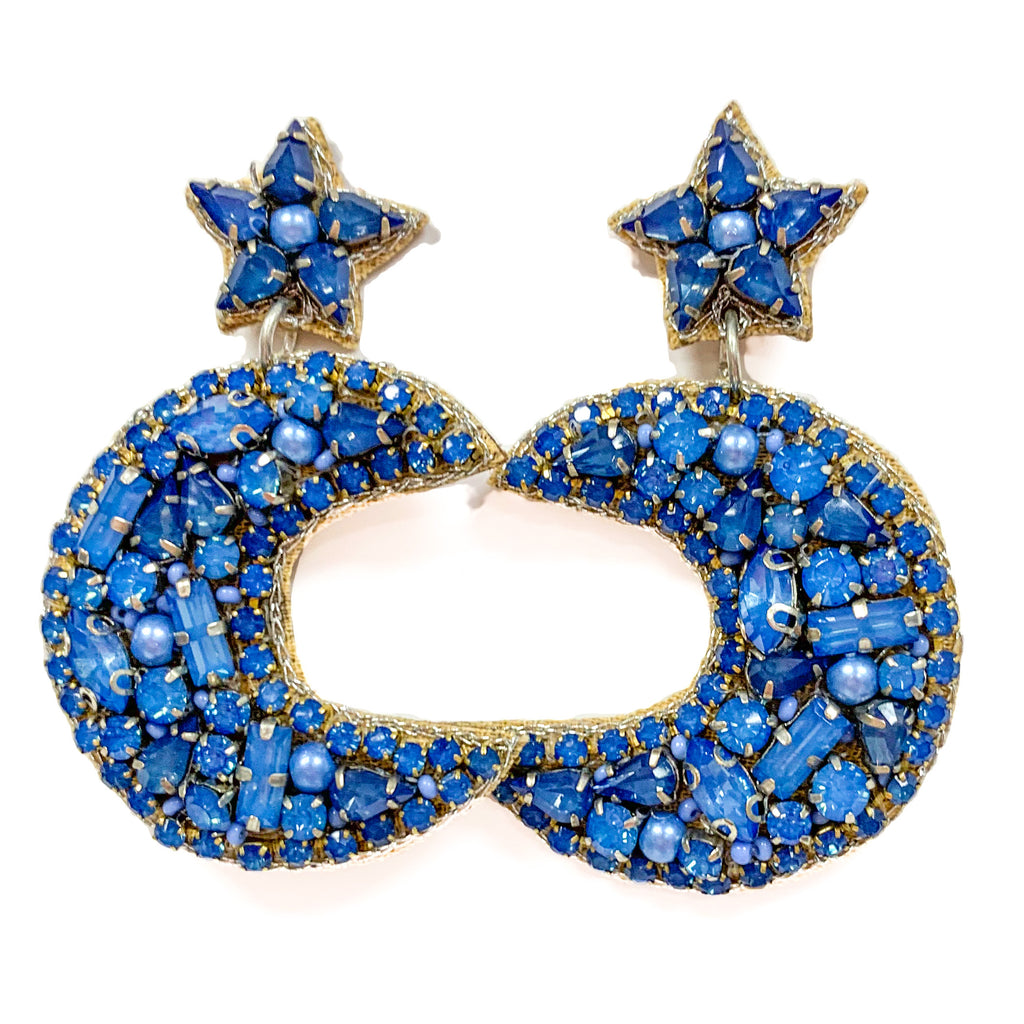 Moon and Stars Earrings in Blue