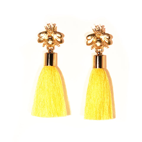 SugarBuzz Queen Bee Tassel Earrings - Yellow