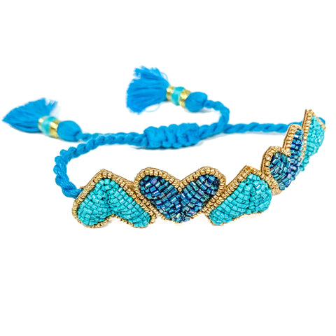 Turquoise Hearts Embroidered Bracelet