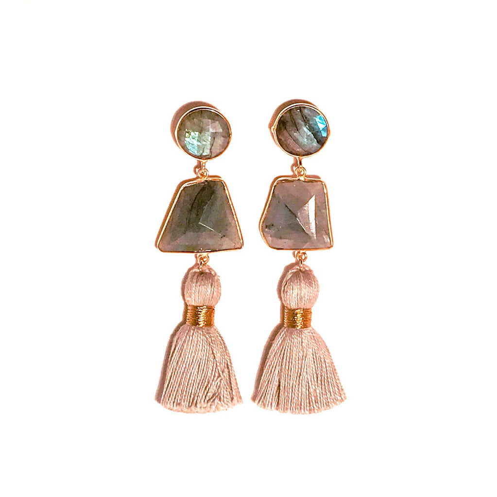 HE 690 Telfair Tassel Earrings in Labradorite