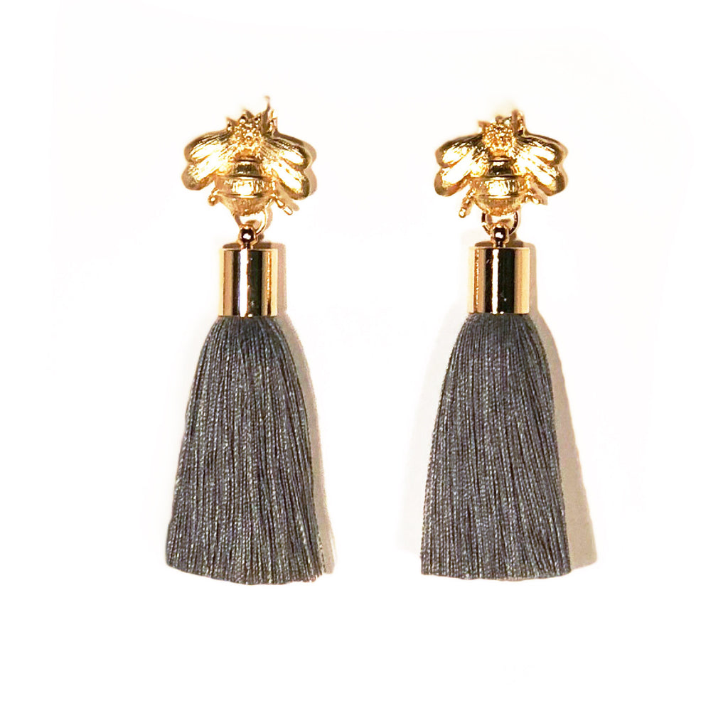 SugarBuzz Queen Bee Tassel Earrings - Gray