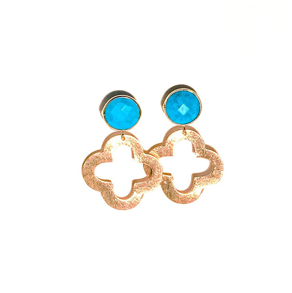 HE 680 Ellis Quatrefoil Earrings in Turquoise
