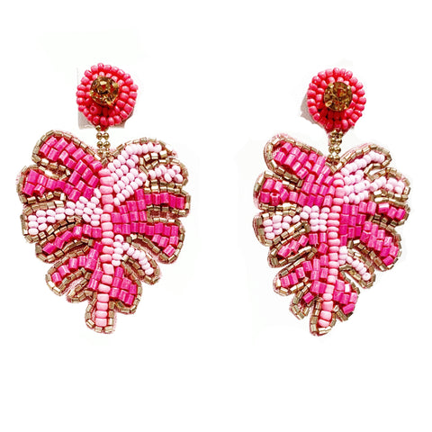 Monstera Leaf Earrings in Pink