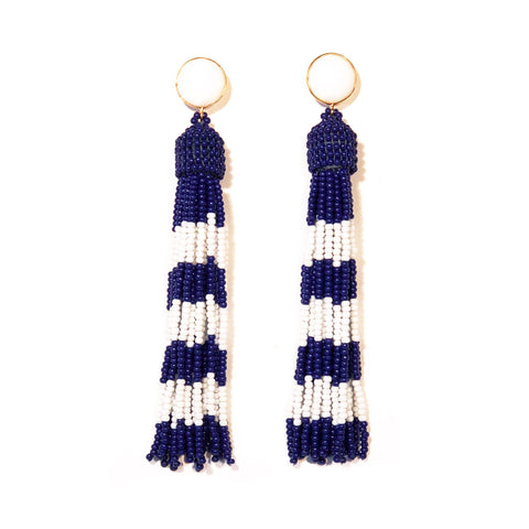 Newport Striped Tassel Earrings in Nautical Navy