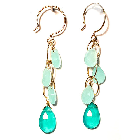 Dripping Chalcedony Gemstone Earrings