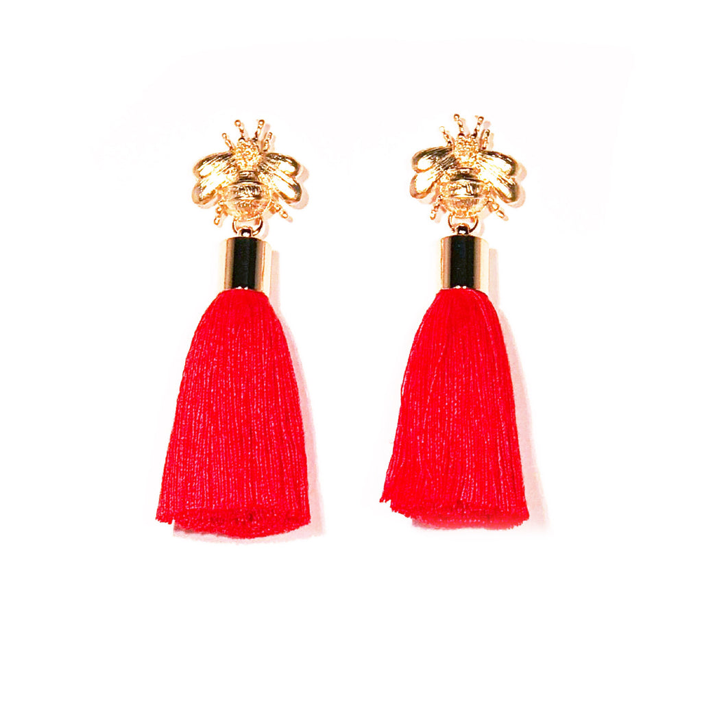 SugarBuzz Queen Bee Tassel Earrings - Red