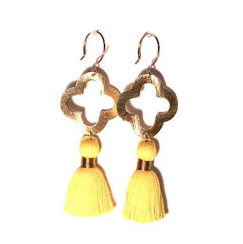 HE 1070 Lulu Quatrefoil Tassel Earrings, Yellow