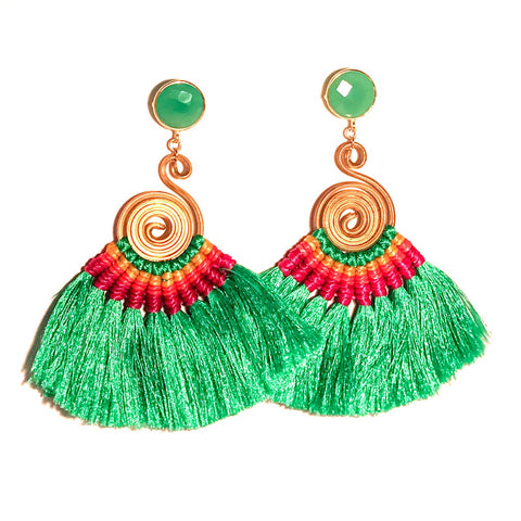 HE 620 Genevieve Tassel Earrings - Clover Green