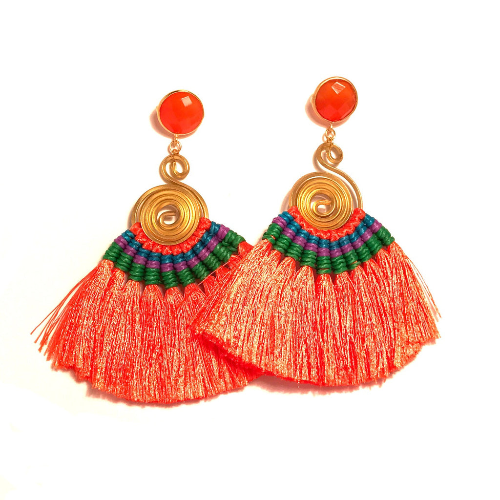 HE 620 Genevieve Tassel Earrings - Les Oranges