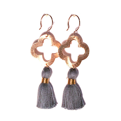 HE 1070 Lulu Quatrefoil Tassel Earrings - Gray