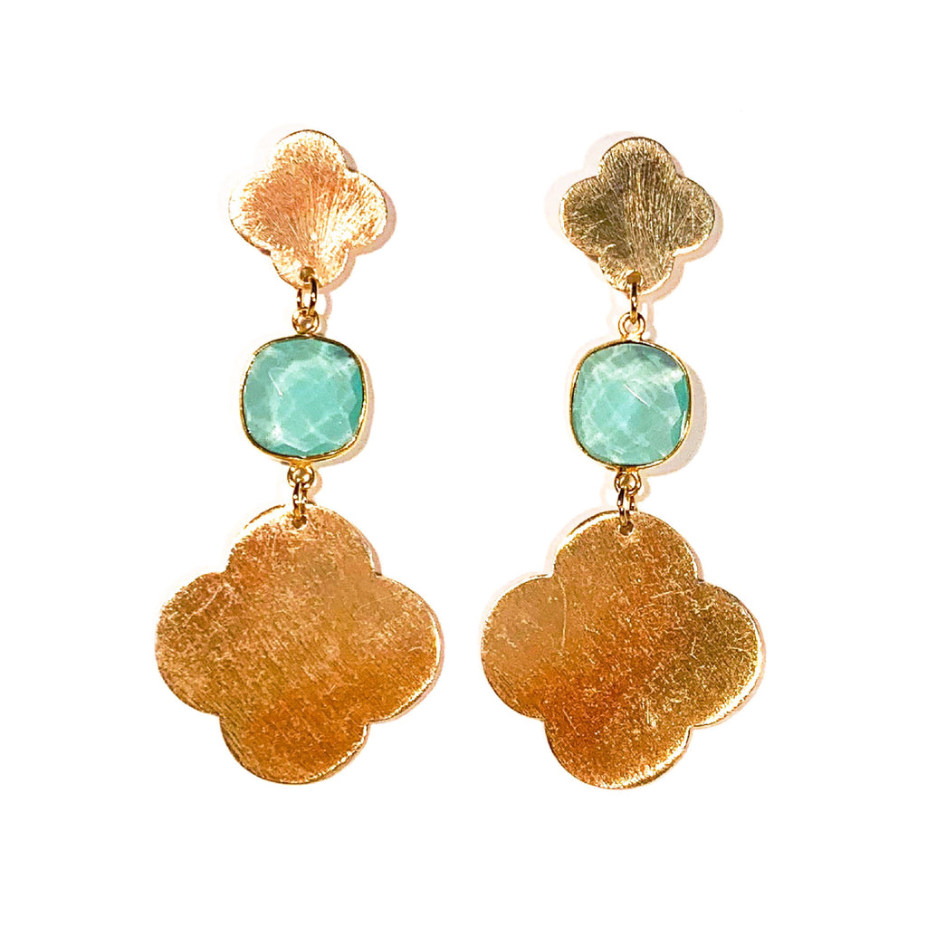 Meredith Solid Quatrefoils with Gemstones