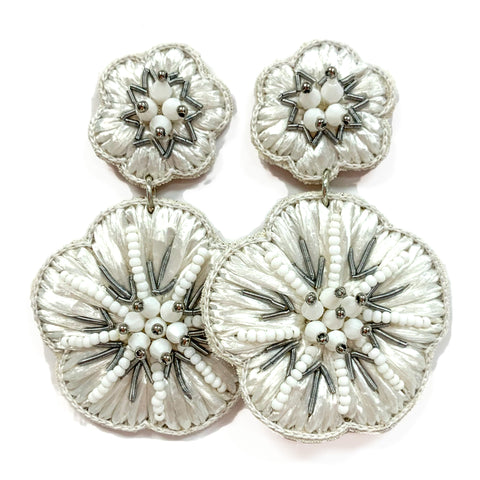 White Raffia Flower Earrings