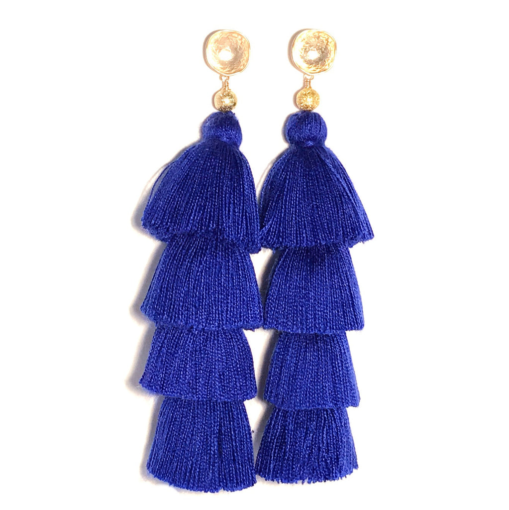 HE 750 Lillian Four Tassel Earrings in Ultramarine Blue