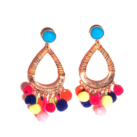 HE 635 Boom Chicka Pom Pom Earrings in Miami Neon