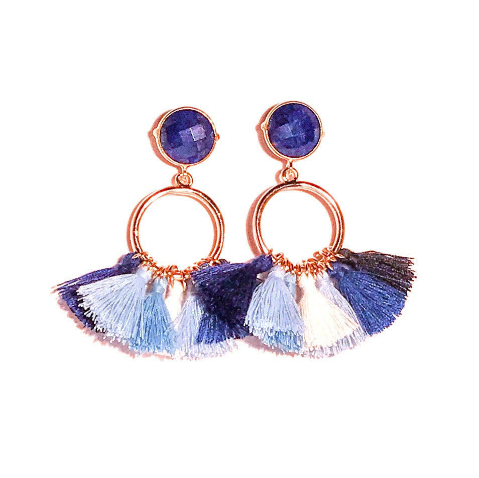 HE 640 Bailey Tassel Earrings in Blue Ombre
