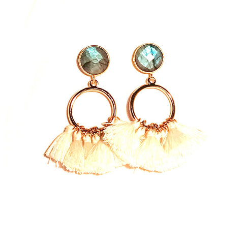 HE 640 Bailey Tassel Earrings in Cream and Labradorite