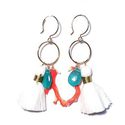 MAGGIE Tassel Loop Earrings, White (Large)