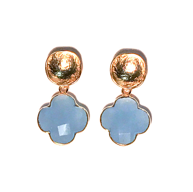 HE 702 Emily Gemstone Quatrefoil Earrings in Lavender Chalcedony