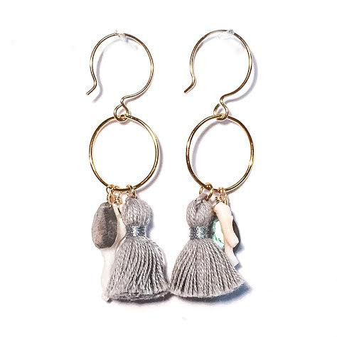 MAGGIE Tassel Loop Earrings, Gray