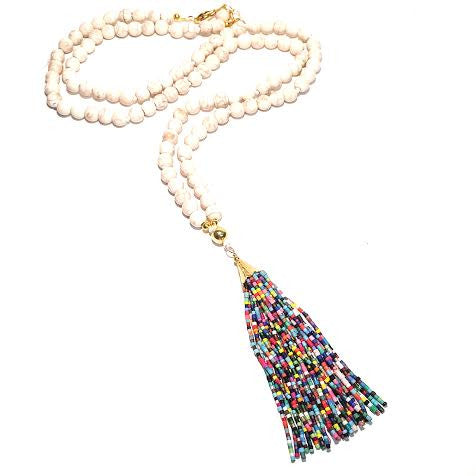 Essential Tassel Necklace, White & Multi
