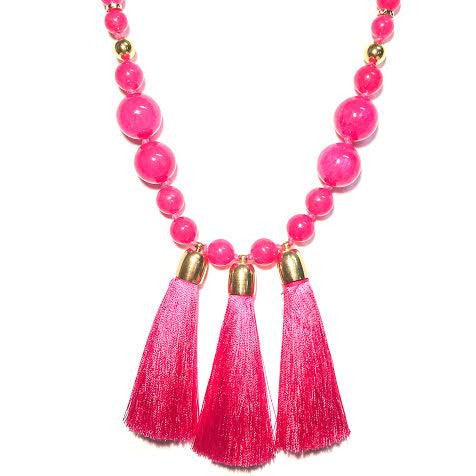 Triple Tassel Necklace, PINK!