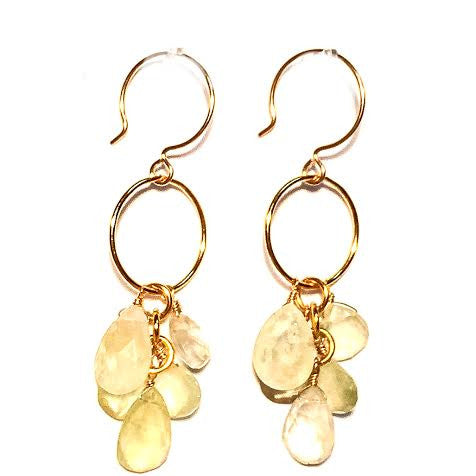 CLAUDIA Earrings - Briolettes on Loop in Prehnite