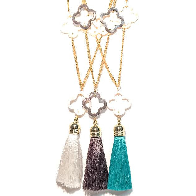 MISS LEE Necklace - Quatrefoils and a Tassel