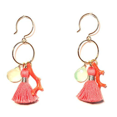 MAGGIE Tassel Loop Earrings, Coral