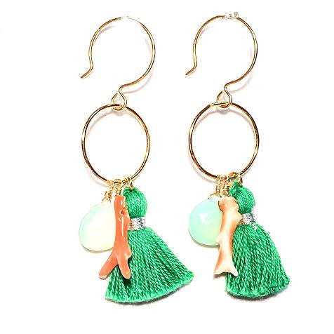 MAGGIE Tassel Loop Earrings, Green