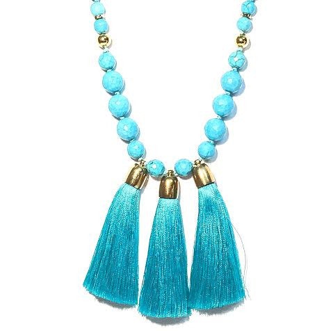 Triple Tassel Necklace, Turquoise