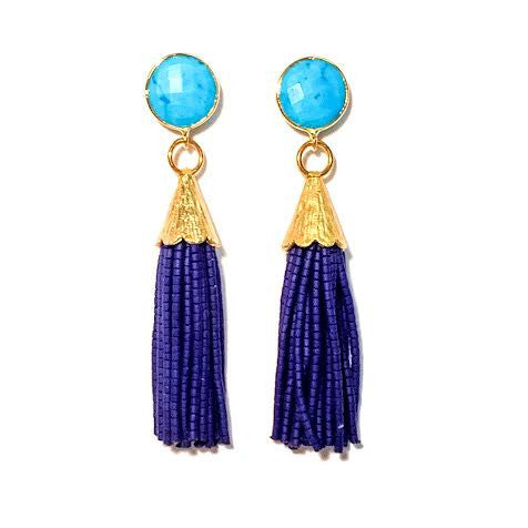 Cha Cha Cha Tassel Earrings, Turquoise & Navy Blue