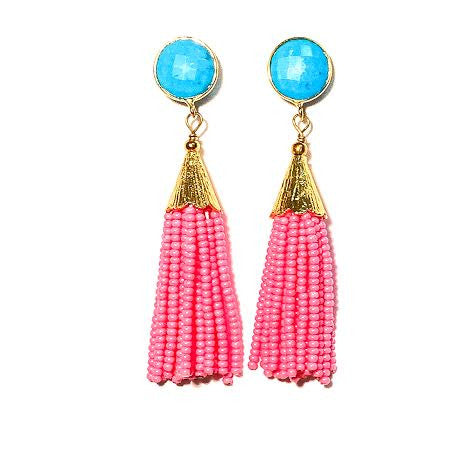 Cha Cha Cha Tassel Earrings, Turquoise & Pink