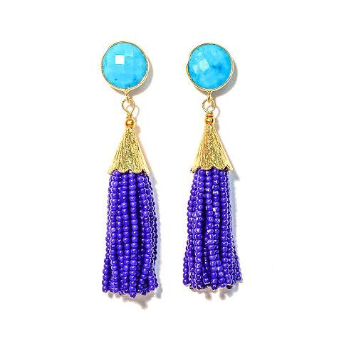 Cha Cha Cha Tassel Earrings, Turquoise & Royal Blue