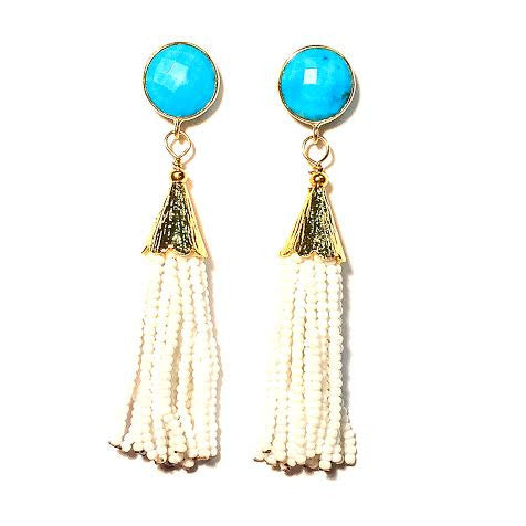 Cha Cha Cha Tassel Earrings, Turquoise & White