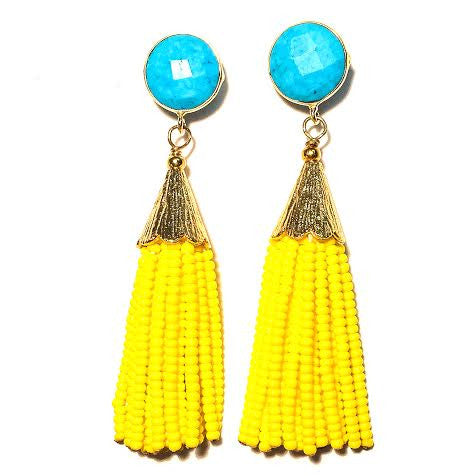 Cha Cha Cha Tassel Earrings, Turquoise & Yellow