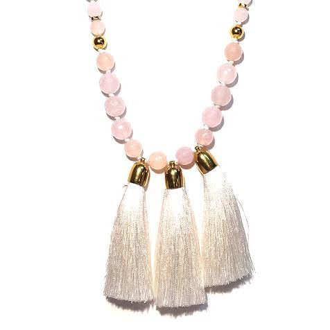 Triple Tassel Necklace, White Agate