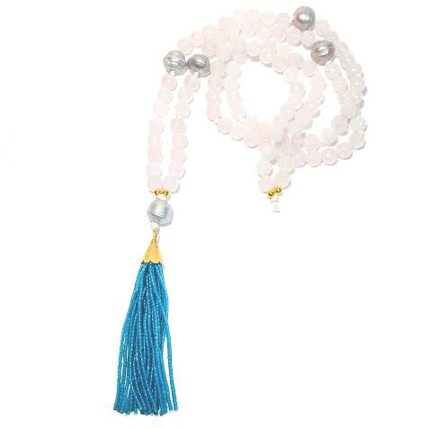 WILLOUGHBY Necklace - 5-Pearls and Teal Tassel on White Agate