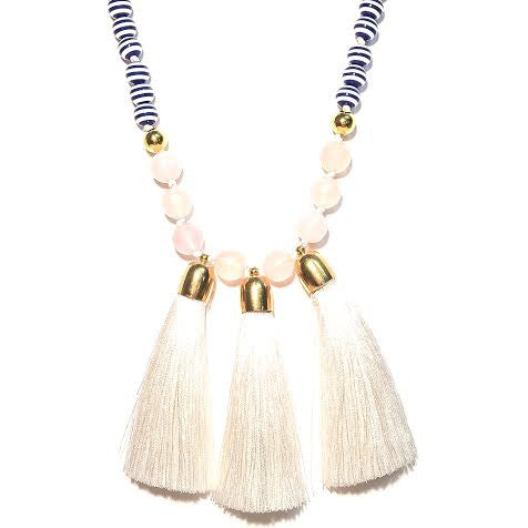 Triple Tassel Necklace, White & Stripes