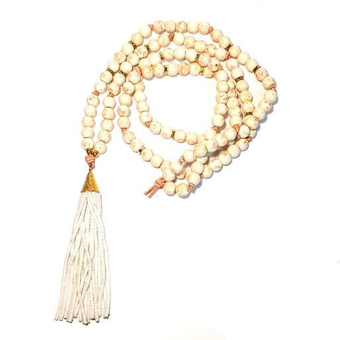BLANCA Necklace - All White Tassel & Howlite